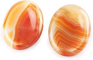 Artistone 2pcs Worry Stone Thumb Palm Stone Pocket Natural Polished Worry Stones Chakra Stone Reiki Healing Crystals Thera...