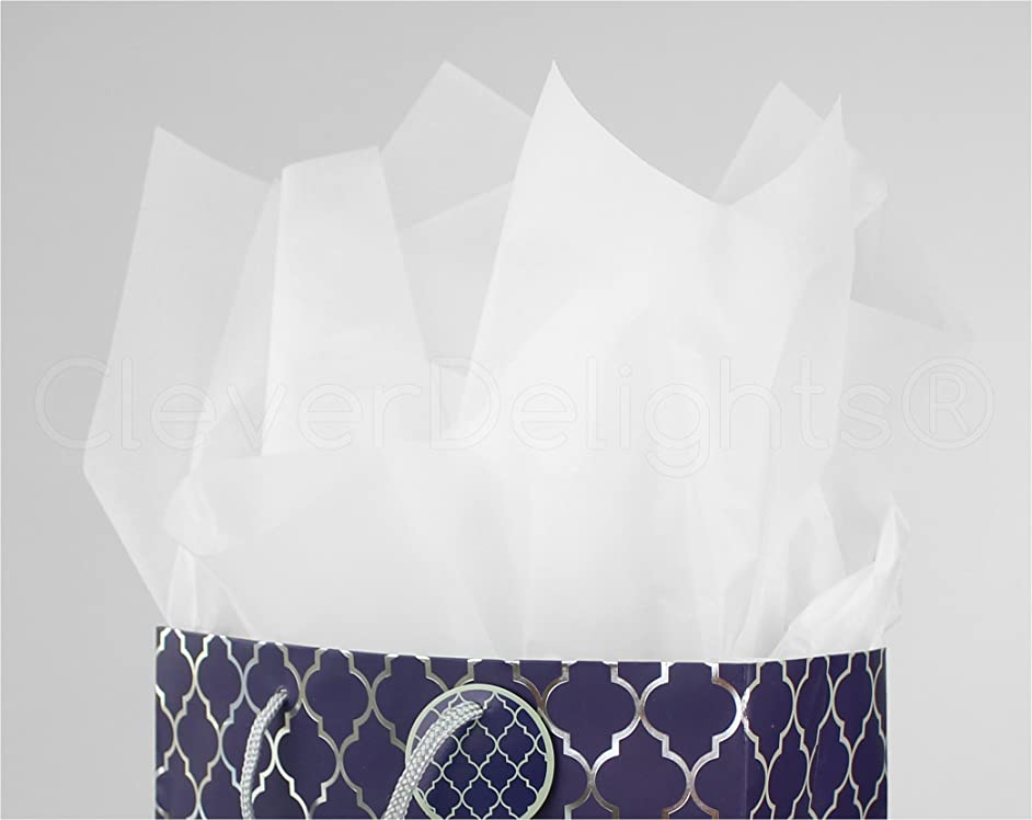 CleverDelights Premium White Tissue Paper - 1000 Sheets - 20