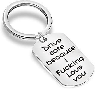 MAOFAED Driver Keychain Drive Safe Because I Love You Trucker Husband Gift New Driver Gift