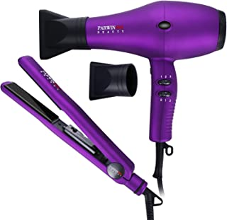 PARWIN PRO Hair Tools Combination Flat Iron Kit & Hair Dryer Set with Portable Case - Tourmaline Ceramic Flat Iron and 1875W 2 Speed 3 Heat Settings Blow Dryer Purple