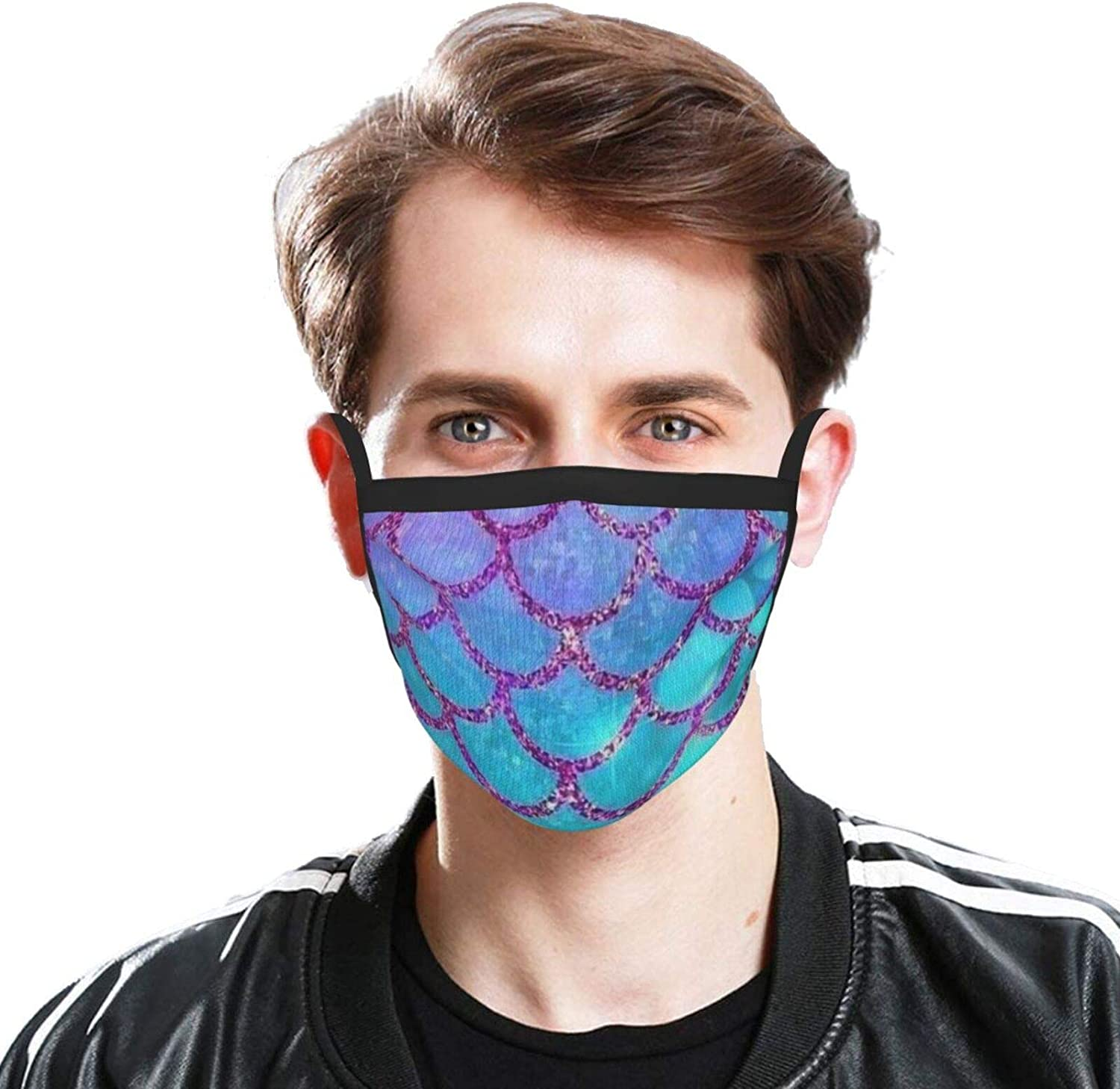 LANJYF 2 Packs Dust Mouth Wear, Mermaid Fish Scales Unisex Face Cloth