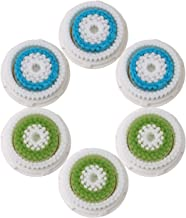 Facial Cleansing Brush Head Replacement, Facial Cleansing Brush Head, For Clogged and Enlarged Pores(3Blue 3Green)
