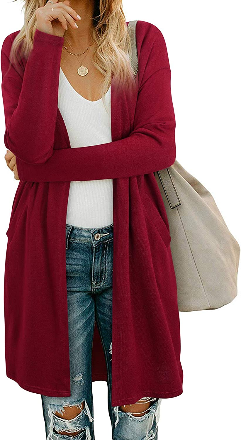 OUGES Womens Open Front Cardigan Shirt with Pockets Long Sleeve Lightweight Coat