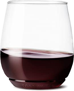 TOSSWARE 14oz Vino - recyclable wine plastic cup - SET OF 12 - stemless, shatterproof and BPA-free wine glasses