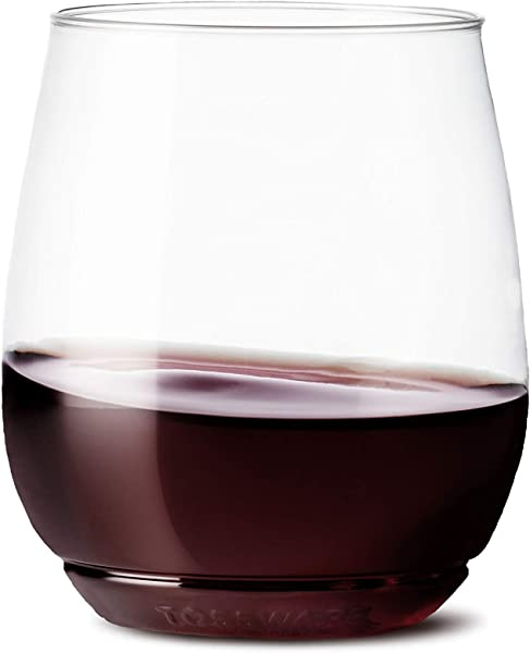 TOSSWARE 14oz Vino Recyclable Wine Plastic Cup SET OF 12 Stemless Shatterproof And BPA Free Wine Glasses