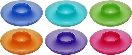 Preisvergleich für idea-station NEO Kunststoff Eier-Becher 9,5 cm 6 Stück im Set, farbig spülmaschinenfest, stapelbar, für Frühstücks-Eier Plastik-Eier-Becher Eierhalter mit Ablage für Eier-Löffel und Eier-Schale