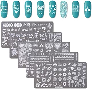 WOKOTO Nail Stamping Plates Set With 5 Pcs Rectangle Flower Butterfly Lace Image Templates Plates For Nails Art Set