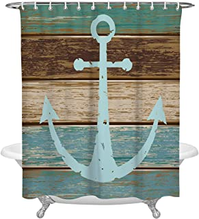 FAMILYDECOR Anchor Decor Polyester Fabric Shower Curtains for Bathroom, Nautical Theme Blue Anchor on Vintage Wooden Planks Waterproof Bath Curtain with Hooks, 84 Inches Extra Long, White and Gray