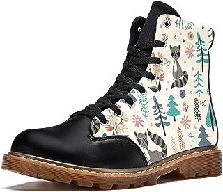 LORVIES Ours Brun Animal Dessin Animé Forêt Vintage Bottes d'hiver Chaussures Montantes en Toile à Lacets pour Hommes