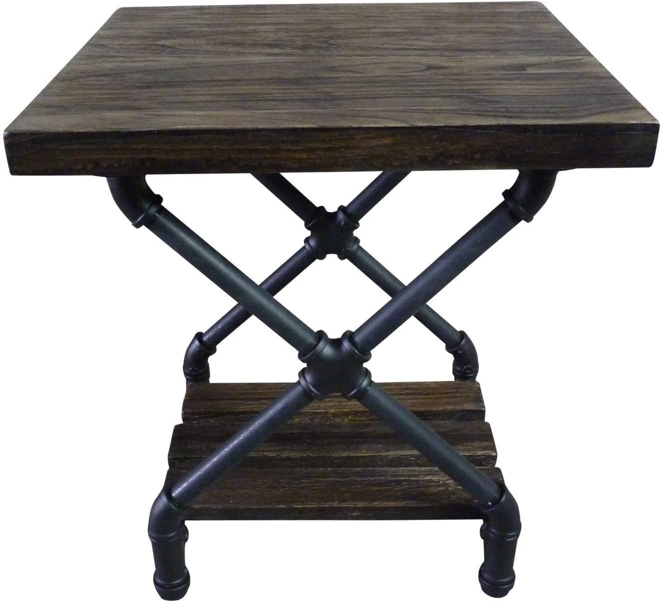 FURNITURE PIPELINE Rustic Side End Table Bedroom Night Stand, Metal with Reclaimed Aged Wood Finish (Rustic Bronze with Light Brown Stained Wood)