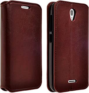 Alcatel Onetouch POP Astro (T-Mobile) Case, Magnetic Leather Folio Wallet Case Cover With Kickstand Case, Defender Cover With Fold Up Kickstand (Brown Flip Wallet)