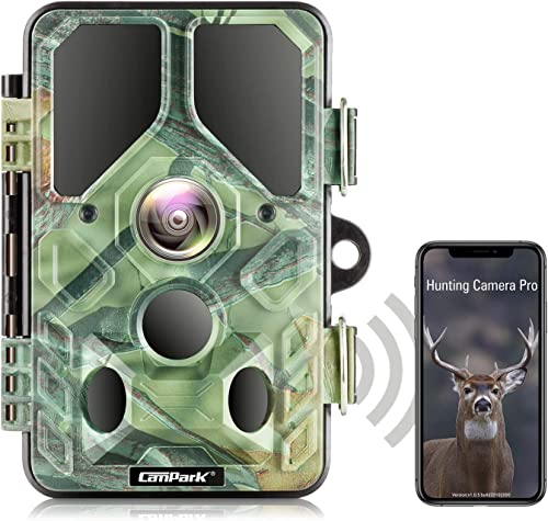 Campark WiFi Bluetooth Trail Camera 20MP 1296P, No Glow Night Vision Game Camera Motion Activated Hunting Camera, Wat...