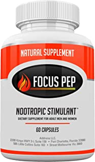 Addrena Focus Pep OTC Stimulants Brain Boosting Dietary Supplement, 1207 mg, 60 Pills