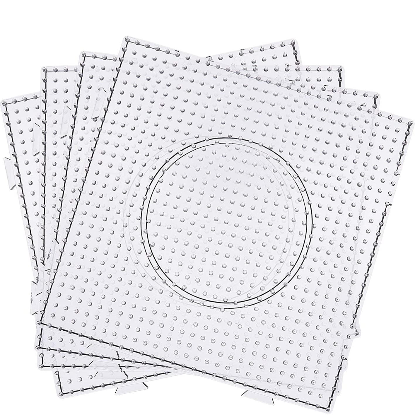 Dr.Luck 5 mm Large Square Fuse Beads Boards Clear Plastic Pegboards for Kids Craft Beads (6 Pieces) hpkalggejly685