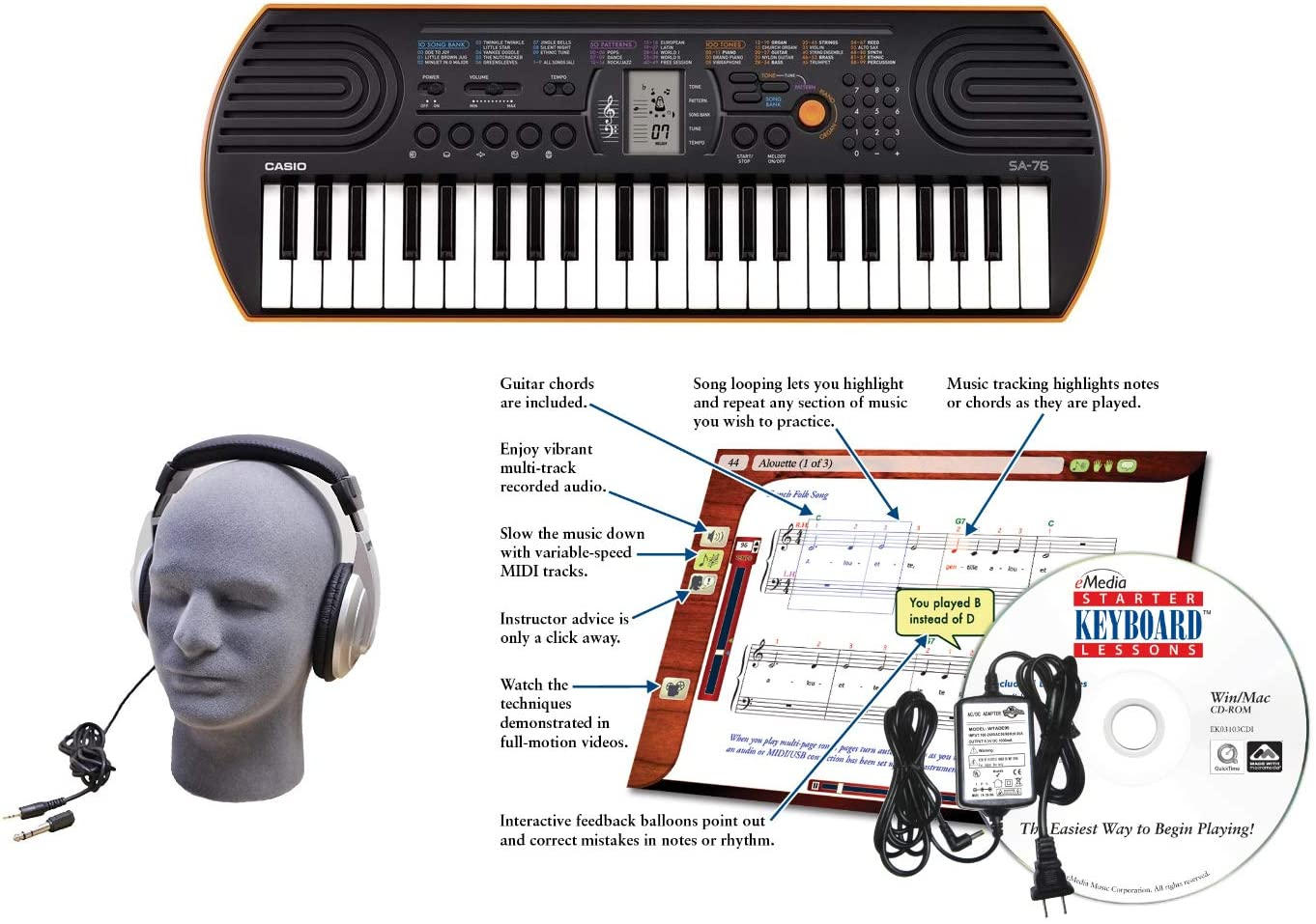 Casio Premium Lighted Keyboard Very Japan Maker New popular Pack with Supply Power