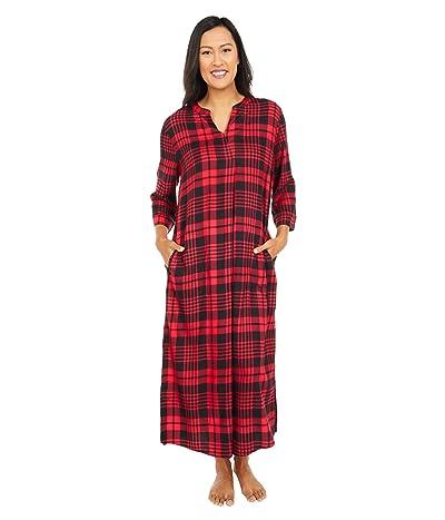 Donna Karan Flannel Maxi Sleepwear Sleepshirt (Lips Plaid) Women
