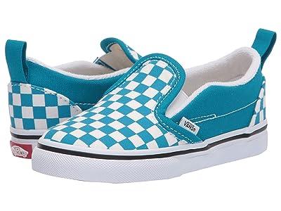 Vans Kids Slip-On V (Infant/Toddler) ((Checkerboard) Caribbean Sea/True White) Kids Shoes