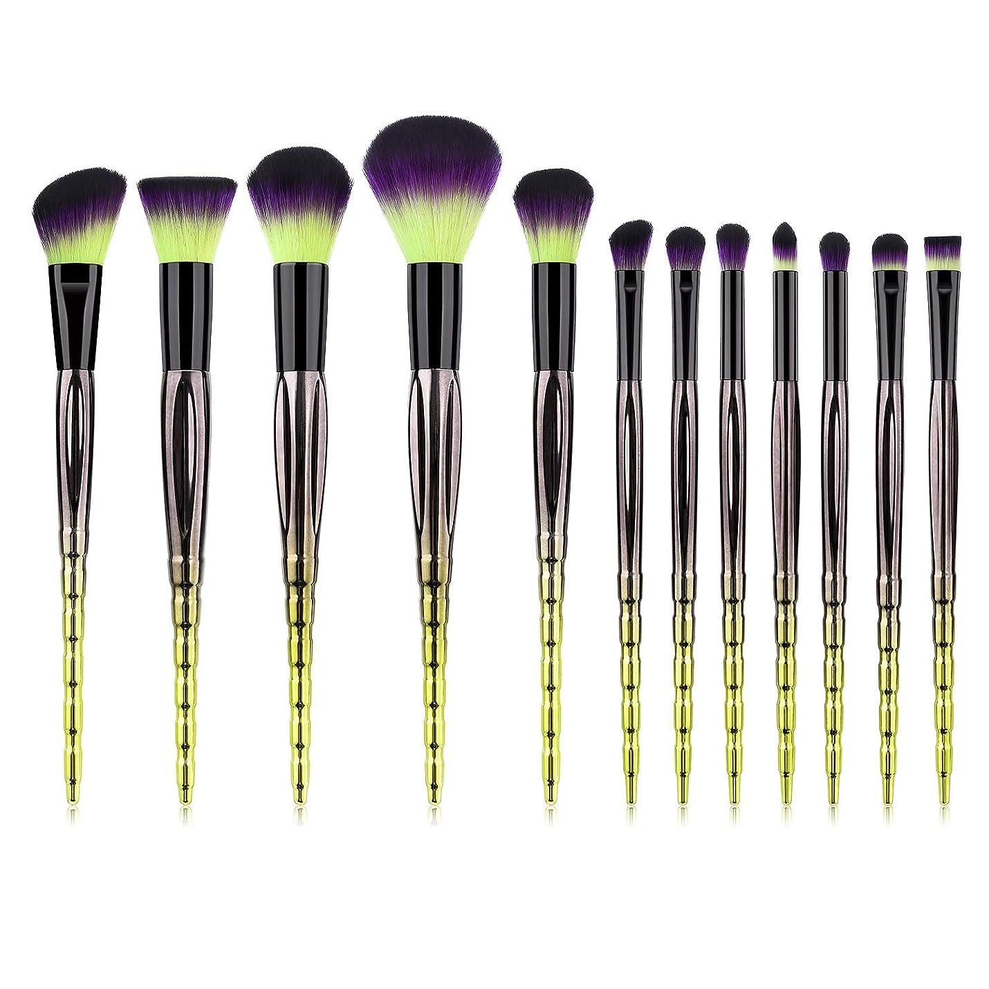 おめでとう慢性的手順仙川 12化粧ブラシファンデーションブラシパウダーアイシャドウブラシピンクシルエットブラシセットグリーン (Color : Green Black)
