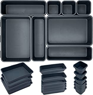 16 pièces Organisateur Tiroir Bureau Cuisine Plateaux Rangement de Tiroir Séparateurs de Tiroir en Plastique Très Profond,...