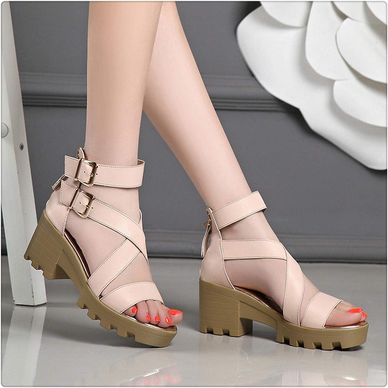 BIONGTY& Button Open Toe Women Sandals 2019 Summer Comfortable Women shoes Non-Slip Breathable High Heel shoes Sandals Woman Apricot 4.5