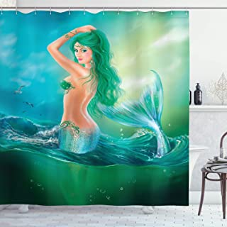 Ambesonne Underwater Shower Curtain, Mermaid in Ocean on Waves Tail Sea Creatures Dramatic Sky Dark Clouds Print, Cloth Fabric Bathroom Decor Set with Hooks, 70