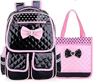 Reflective Girls Cute School Backpack PU Leather Kids Bookbag Satchel (Black Set)