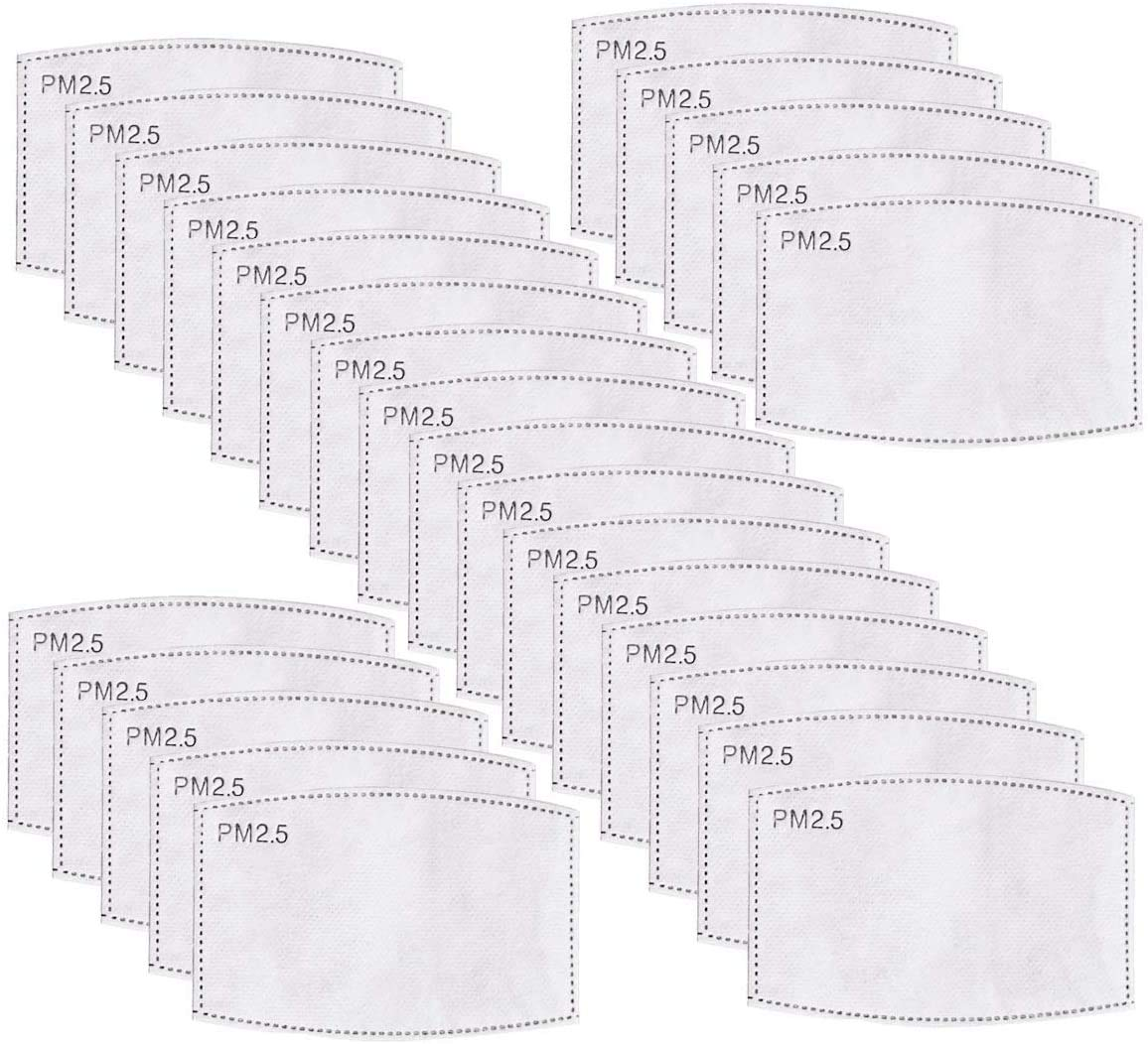 100 filtros de carbón activado PM 2.5 de 5 capas reemplazables antiniebla filtros para respirador bucal