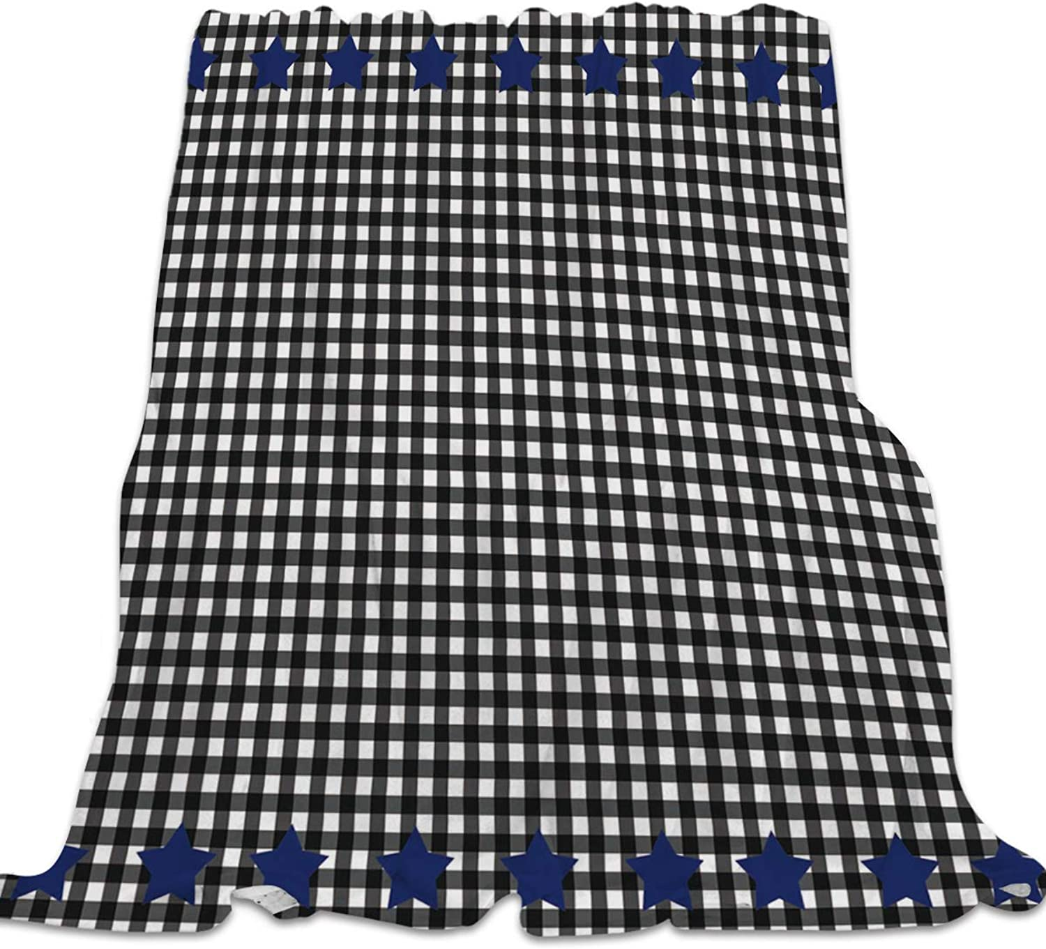 YEHO Art Gallery 49x59 Inch Flannel Fleece Bed Blanket Soft ThrowBlankets for Kids Adult,Black and White Lattice bluee Star,Lightweight Blankets for Bedroom Living Room Sofa Couch Home Decor