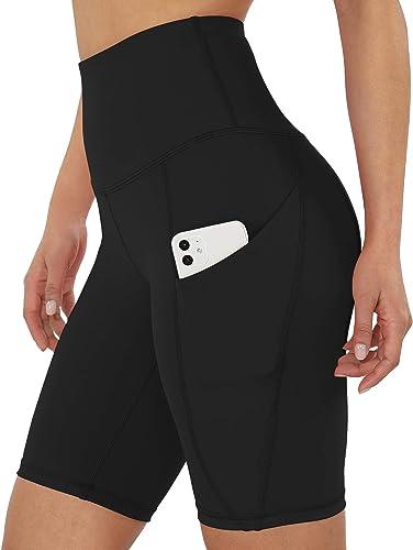 "ODODOS Women's 5""/2.5""/9"" High Waist Bike Shorts with Pockets Workout Sports Athletic Running Biker Yoga Shorts"