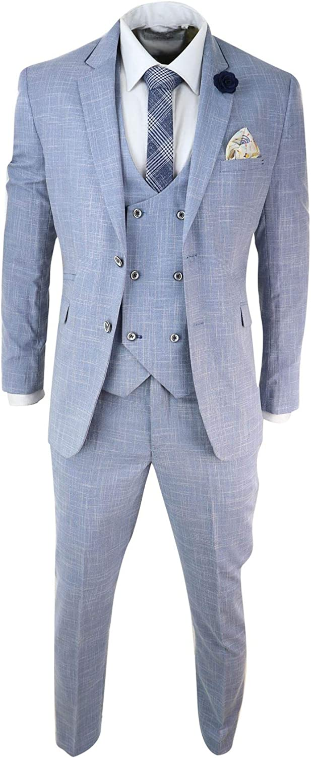 Mens Light Blue 3 Piece Suit Classic Wedding Summer Double Breasted Waistcoat