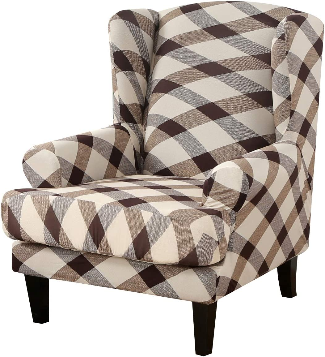 Wing Chair Slipcovers 2-Piece Pattern Wingback Chair Covers Sofa