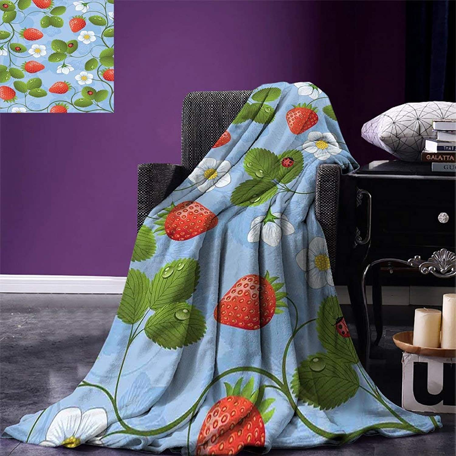 VANKINE Ladybugs Super Soft Lightweight Blanket Strawberries Daisies and Ladybugs Looks Like Ivy Plant Spotted Insects Image Oversized Travel Fashion Cover Blanket bluee Green Red