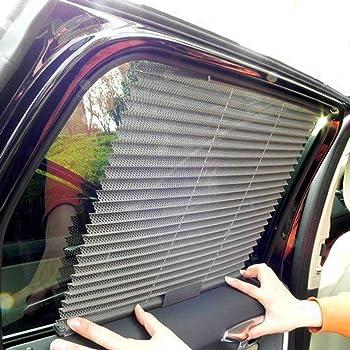 125x58cm Acouto Auto Parabrezza Retrattile Parasole Parasole Retraibile Auto Cling Statico Protezione Raggi UV Retrattile con Ventose Nero