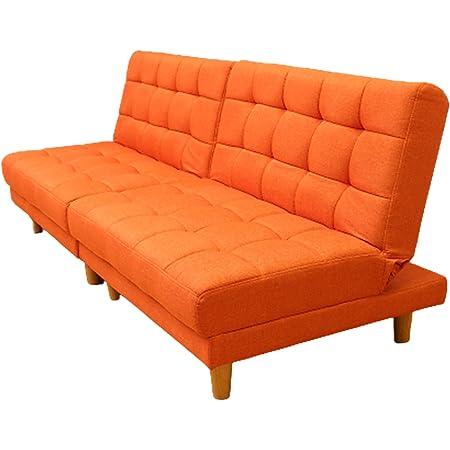 タック ソファベッド オレンジ 2人掛け