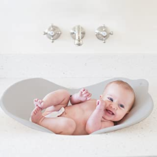 Puj Flyte - Compact Baby Bathtub - Infant, Newborn, 0-6 Months, in-Sink Baby Travel Bathtub, BPA Free, PVC Free (Grey)