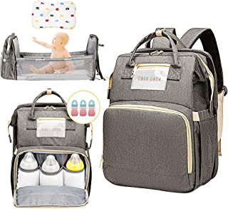 Cosy Casa Baby Travel Diaper Bag Backpack with Bassinet Changing Mat Changing Station,Folding Crib Bag Foldable Mommy Bag for Baby Girl Boy Infant Mom Diaper-Bag-Backpack-Baby-Travel(Grey)…