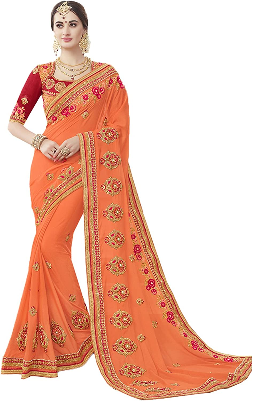 Sangrahan Indian Women Saree Designer Party wear Wedding orange color Sari K553950589