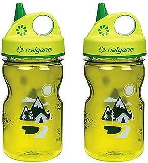 Nalgene Grip 'n Gulp Kids Travel Water Bottle - 12 Ounce - Green Trail - 2 Pack