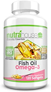 Fish Oil Omega 3 1250 mg with Powerful EPA & DHA per Individual Softgel | Best Cardiovascular, Cognitive, and Immune Suppo...