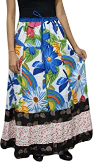Mogul Interior Women's Maxi Skirt Bohemian Floral Printed Cotton Beach Gypsy Hippie Long Skirt L White,Blue