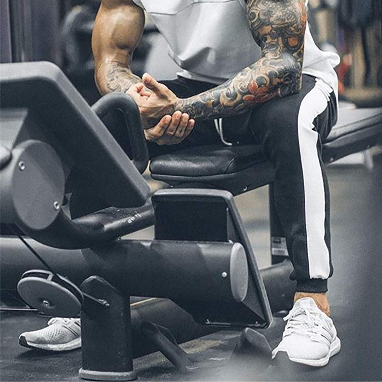 FASKUNOIE Mens Athletic Pants Skinny Side Stripe Casual Elastic Close Bottom Track Pants