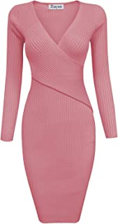 Womens Stylish Surplice Wrap Bodycon Knit Midi Dress