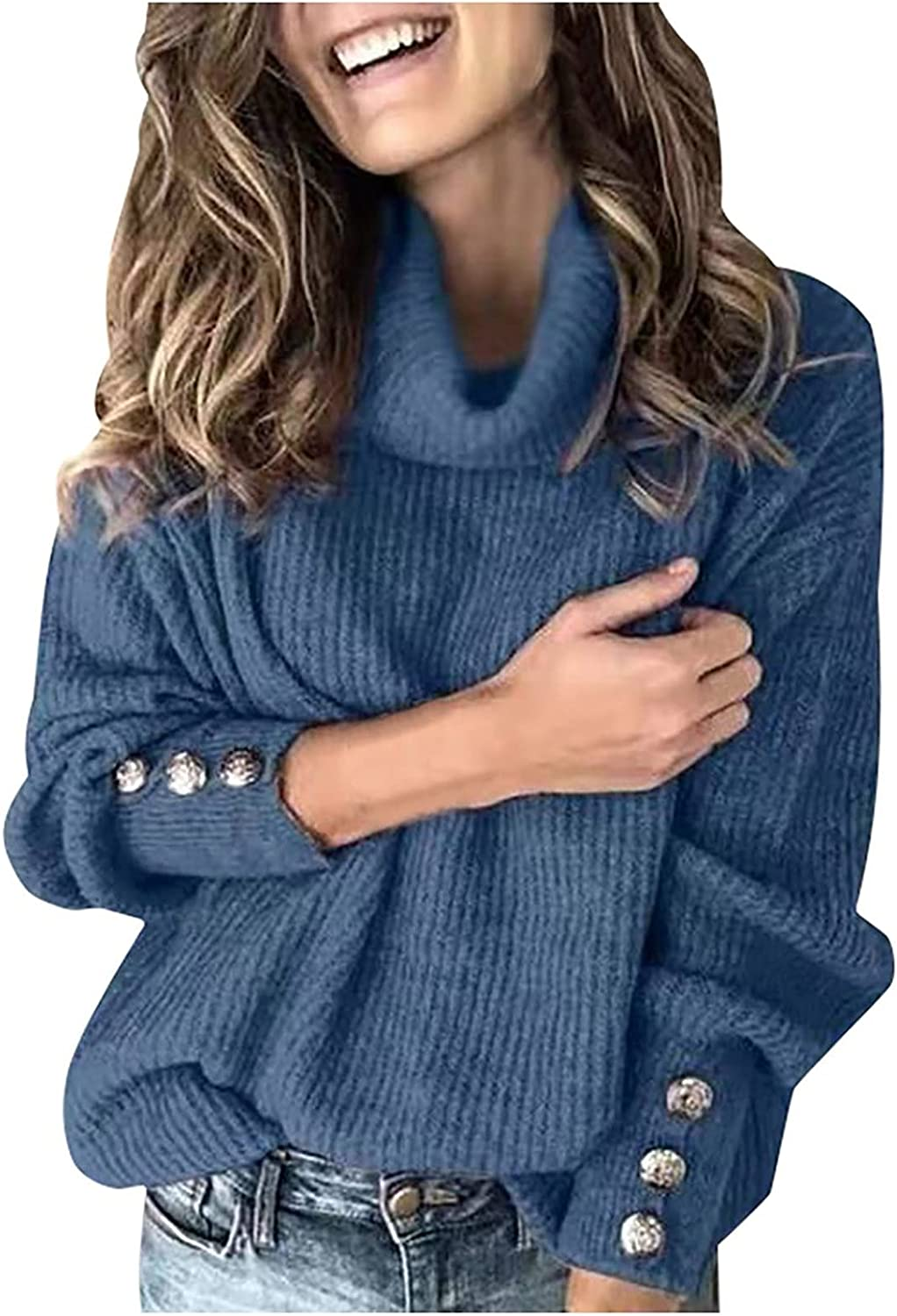 Sweaters for Women Turtleneck Knitted Jumper Sweater Long Sleeve Button Elegant Casual Tops Daily Casual Soft Blouse