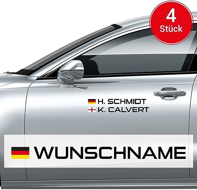 Motoking Autoaufkleber Name Flagge 4 Stück Ihr Wunschname Im Rallye Racing Design Wähle Größe Farbe Auto