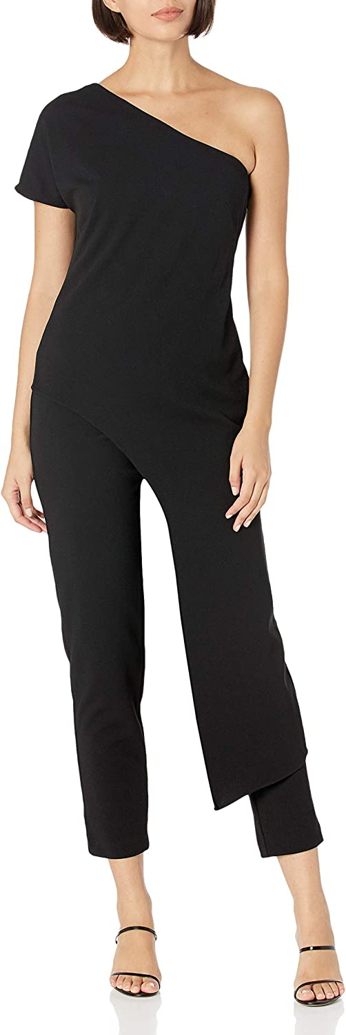 Adrianna Papell Women's Assymetrical Crepe Jumpsuit