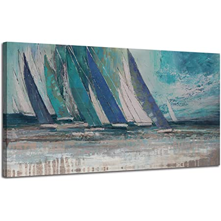 Arjun Abstract Blue Canvas Wall Art Ocean Sailboat Picture Modern Coastal Painting Large Prints Framed 40 X20 One Panel Artwork For Living Room Bedroom Kitchen Dining Room Home Office Decor Everything Else