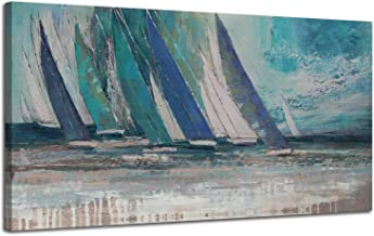 Arjun Canvas Wall Art Abstract Blue Ocean Sailboat Picture Modern Coastal Painting, Large Prints Framed 40