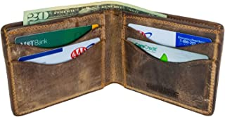 Hanks Bi-Fold Leather Wallet - Holds 8-13 Cards - USA Made, 100-Year Warranty
