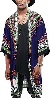 Mens African Dashiki Print Ruffle Shawl Collar Cardigan...
