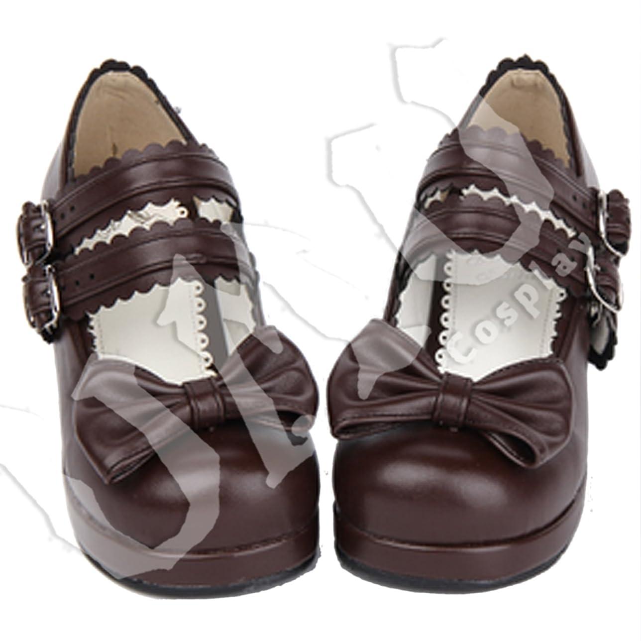 約設定発明する百【UMU】 LOLITA ロリータ ブラウン 可愛い 日常 風 靴 ブーツ ブーティ オーダーメイド(ヒール高、材質、靴色は変更可能!) (足27.5cm)
